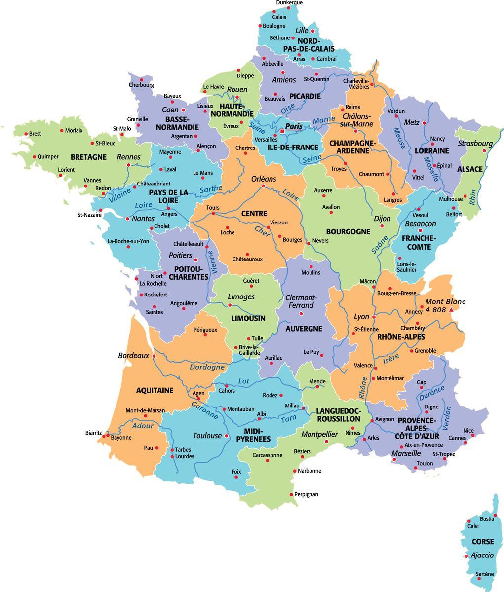 Les cartes de france - Region la plus sure de france ...